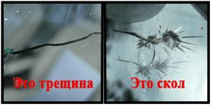 сколы и трещины на лобовом стекле